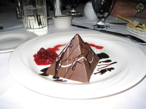 Mousse in the Shape of a Pyramid - I probably would have ordered the creme brulee, except that this chocolate mousse came in such an interesting shape. What an excellent finale to a wonderful night out.
