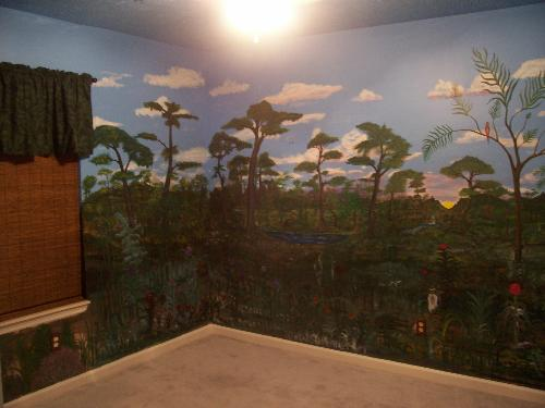 """mural - a pic of part of the room, I also made the curtains """")"""