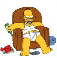 Homer Simpson - Homer relaxes at home.