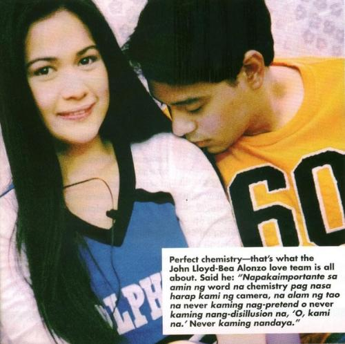 Bea and John Lloyd  - These two are my favorite love teams. The girl's name is Bea, the guy is John LLoyd.