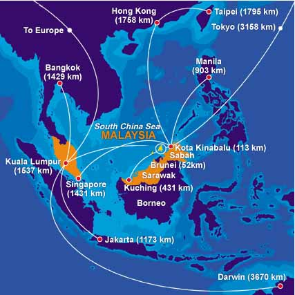 Airline Map Of Sabah, Land Below The Wind - Welcome to Sabah, Land Below The Wind, MALAYSIA
