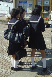 High School students - These are japanese high school students. we have uniforms here in the Philippines too, but i cant find a nice picture :)