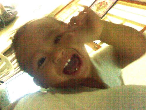 cyd and his teeth - my 1 year and 17 days old nephew