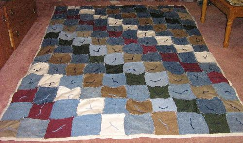 Blue Jean Rag Quilt  - This is a picture of a Blue Jean Rag Quilt that I made for my daughter