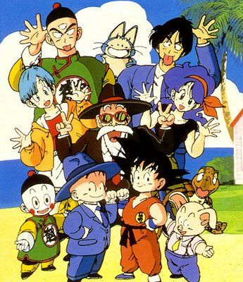 The cast of dragonball anime - this image shows the main characters of the dragon ball anime...