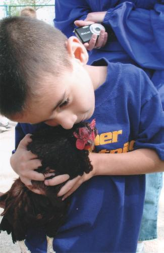 My brother - on a field trip to a petting zoo