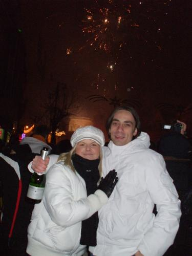 me and my boo boo - in Romania in the center of my town in the new years eve