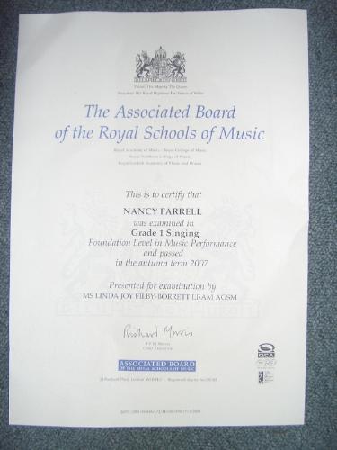 Grade One singing certificate, - My Grade one certificate.