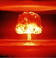 Dramatic Mushroom Cloud - The well known and very dramatic profile of the mushroom cloud that signifies total ground zero obliteration and spreading horror as the shockwave emanates across the land destroying and radioactively poisoning eveything in its path. Man's ultimate statement.