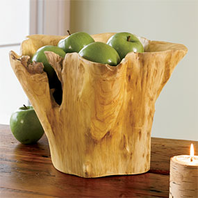 """Organic Sculpture Wood Bowl - Decorative an hand carved from the root wood of reclaimed fir trees,this free-form bowl is defined by natural grain and beautiful color variations.Wooden bowls are deep and generously sized for fruit,salads,or display.Finished with a food-safe soybean oil to maintain the wood.Due to each tree unique markings,no two are alike.Bowls measure approximately 9""""Hx12-14""""diameter.To preserve wood finish,hand wash only."""