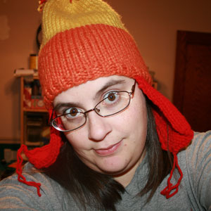 """me in my Jayne hat - I knit this hat for myself. It's called a """"Jayne"""" hat because it is based on a hat that appeared in an episode of the short lived TV show, Firefly. The character that wears it is called Jayne. He looked even sillier in his, lol."""