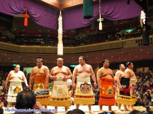 Sumo ceremony - Sumo fighters performing an opening ceremony