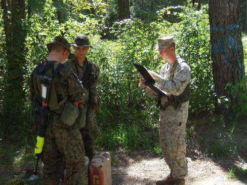 Land Nav - Checking students answers on the Land Navigation course.