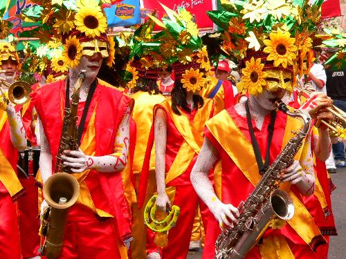 "Flower Band in Baguio Penagbenga Festival, Philipp - A casual shot of participating band in Baguio's Flower Festival called ""Penagbenga"", in the mountain province of the Philippines. Cool weather, fresh air, nice people and a very festive atmosphere all contribute to the event of the year. Tourists from all over flock to this mountain city high up on the mountains of Benquet."