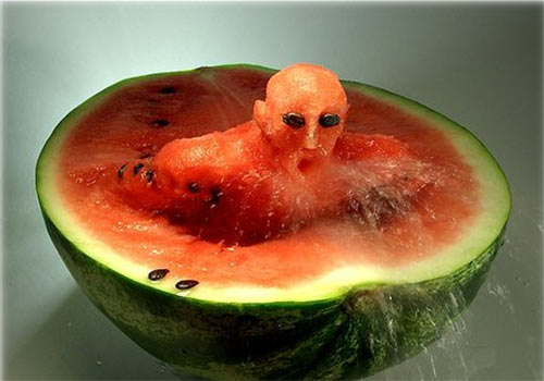 watermelon - it could also be a swimmer in a pool.