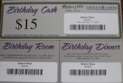 Comps From Mystic Lake Casino and Hotel - My birthday comps/gifts
