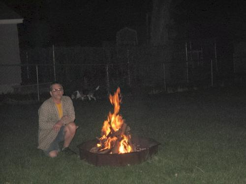 Summer Bonfire - Buster in the background even enjoys the bonfires to a point.