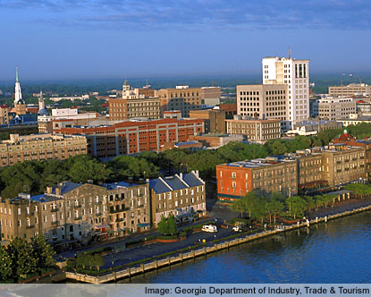 Savannah, GA - This is a picture of the downtown Savannah area. The city rests on the Savannah River and hosts one of the busiest ports in the United States.