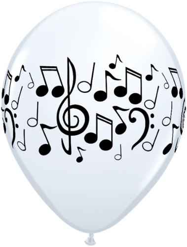 Music Balloon - A white balloon with all kinds of music notes written on it.
