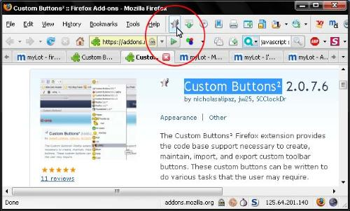 Firefox Addon Custom Buttons2 - Firefox Custom Buttons2 Addon for creating customized toolbar buttons for various user defined task.