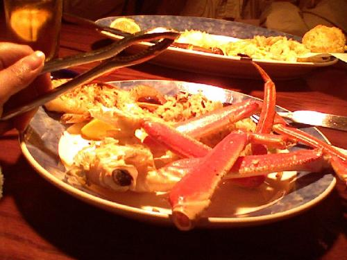food - Heres the crab legs I taken during we ate in red lobster.