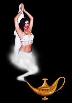 Genie coming out of a lamp - Genies are said to dwell within bottles and lamps.