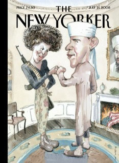 Obama & Michael - Satire cartoon ak-47 and afro and turban