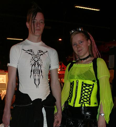 Picture of me and my boyfriend - Both wearing cyber gothic outfits. The glasses on my head are supposed to be there, they are named 'goggles' and an accessoiry that's very popular in this subculture.