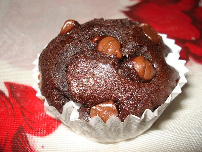 Chocolate Chocolate Chip Muffin - A homemade Chocolate Chocolate Chip Muffin yum!