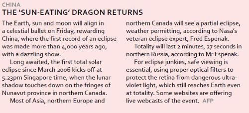 Sun eating dragon - New article in today's papers - A new excerpt taken from today's papers.