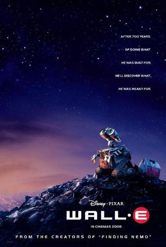 The cover design of the movie WALL-E - The robot shown in this picture is the hero of this movie.He can bound you to sit during the play time of WALL-E.
