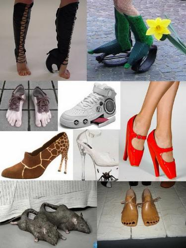 strange shoes - I have gather these images of strange shoes that some people have, I wonder why always people must have strange something and like to do it.
