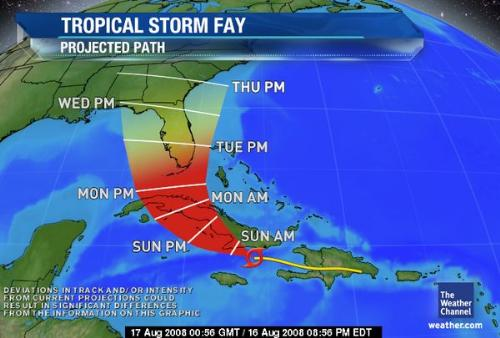 Tropical storm Fay - Yikes! is it going to be a bad one?