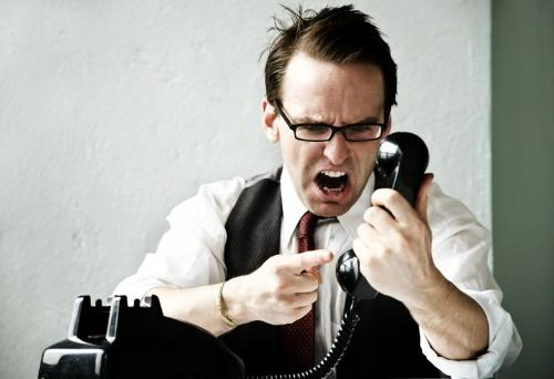 yell - men yelling at the phone