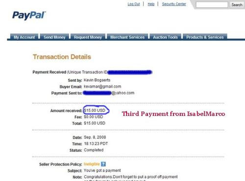 Payment from IsabelMarco -  I just received my third payment from IsabelMarco, and requesting my fourth payment tonight (over $37!)