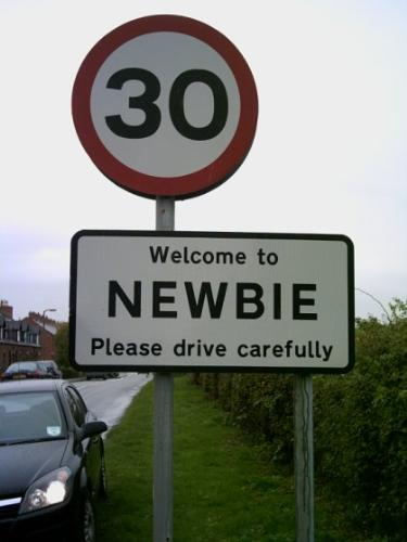 Newbie - A sign showing the speed limit in Newbie. Please drive carefully.
