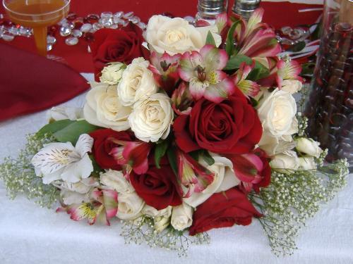 wedding photo - bride's bouquet carnations alstromerea, roses, baby's breath