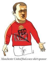 Man Utd change shirt sponsor - This cartoon shows man u shirt sponsor change from AIG to FED and rooney is protesting.lol