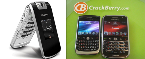 Big three - Latest Blackberry handheld, from left to right