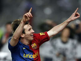 Lionel Messi -  Lionel Messi celebrating after scoring the winner through penalty in the stoppage-time against Espanyol