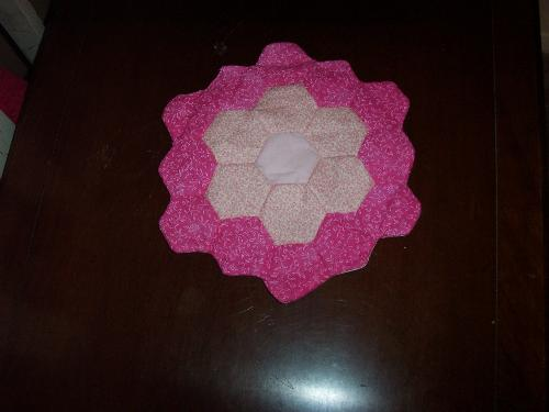 Pink Flower Centerpiece Mat - Handsewn centerpiece mat made with flower garden pattern.