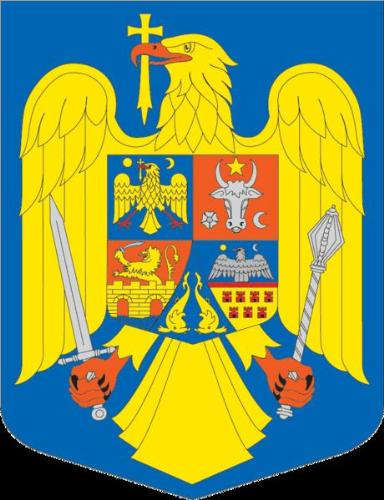 Romanian Coat of Arms - In the first quarter, Wallachia's coat of arms, an aquila or holding in its beak a golden Orthodox cross, accompanied by a golden sun on the right and a golden new moon on the left, is displayed against an azure background.