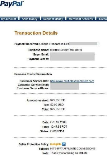 Hits4PayPayment - My 4th payment of 25.85