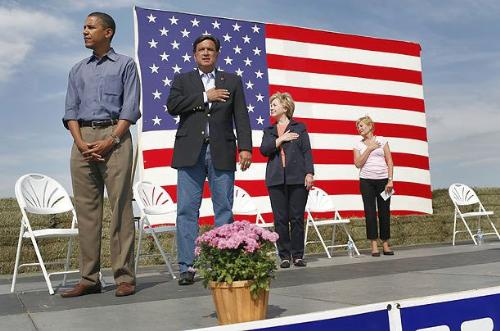 """Obama doesn't respect the flag, doesn't respect ou - His wife was never proud of our country in any way, until he was nominated for President. He says only NOW has his """"faith in America"""" been vindicated."""