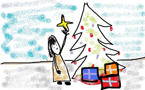 Chrismas Decorating is Fun - this is a quick scribbling of a little girl putting finishing touches on her christmas tree.