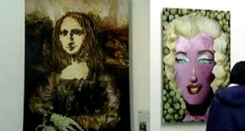 Mona Lisa Tofu & Marilyn Monroe Cabbage - A photo of Mona Lisa created using Tofu, and a portrait of Marilyn Monroe created using Cabbages. Mona Lisa - a painting by Leonardo Da Vinci, widely considered as the most famous painting in history. Marilyn Monroe - an American actress, singer, model and film producer. Tofu - a protein-rich food made from curdled soybean milk. Cabbage - an edible plant (Brassica oleracea var. capitata) having a head of green leaves.
