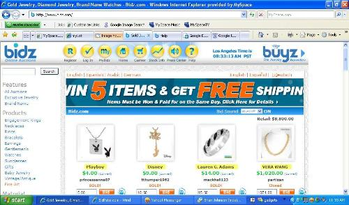 Bidz.com - Screen Shot of Bidz.com- awesome auction site I highly recommend.