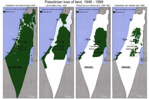 palestina's land loss.. - you can see how suffering they are just by seeing this map.