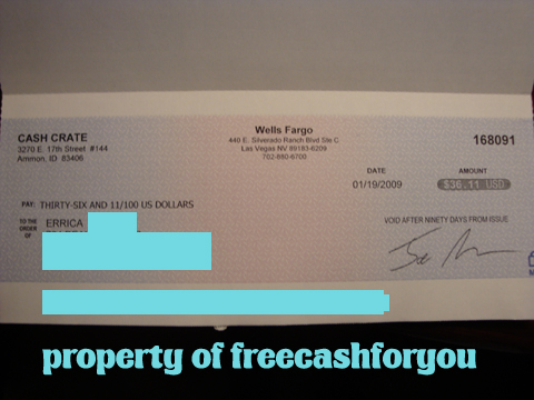 cashcrate - my second check from cashcrate :)