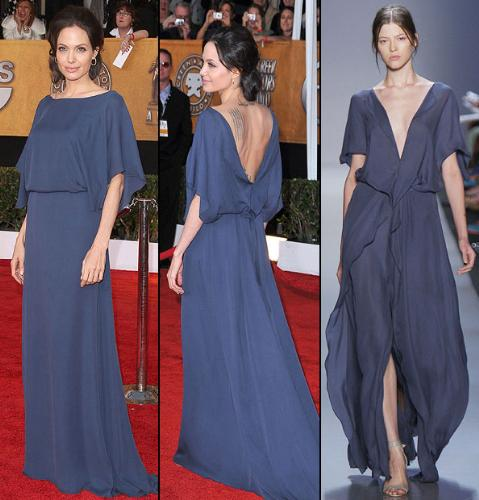 a.jolie dress - (left to right) The front of Angelina's Max Azria dress (Jason Merritt/Getty Images), the back (Steve Granitz/WireImage.com), and a model from Azria's Spring 2009 collection (Scott Gries/Getty Images)